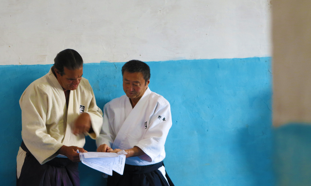 Barba y el maestro japonés de aikido Jun Nomoto (Foto: Tomás Ernesto Pérez)